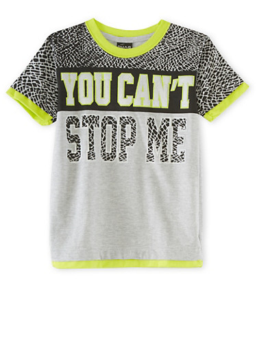 Boys 4-7 Short Sleeve T-Shirt with You Cant Stop Me Graphic,HEATHER,large