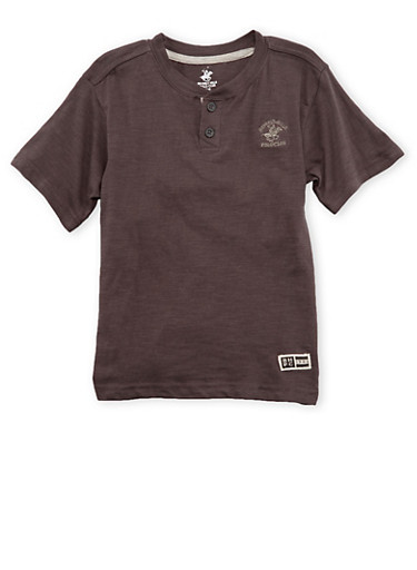 Boys 4-7 BHPC Henley Tee,CHARCOAL,large