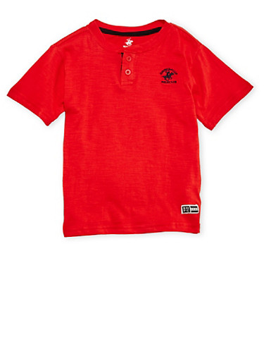 Boys 4-7 BHPC Henley with Logo,RED,large