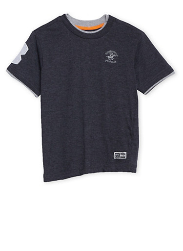 Boys 4-7 BHPC Layered Tee with Embroidery,CHARCOAL,large