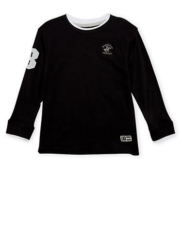 Boys 4-7 BHPC Embroidered Long Sleeve Shirt,BLACK,large