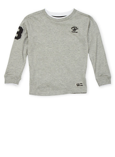 Boys 4-7 BHPC Embroidered Top with Long Sleeves,GREY,large