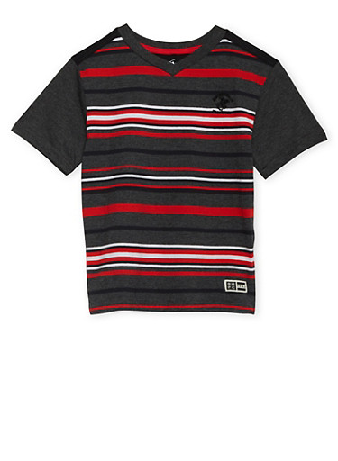 Boys 4-7 BHPC Striped Tee with Contrast Sleeves,RED,large