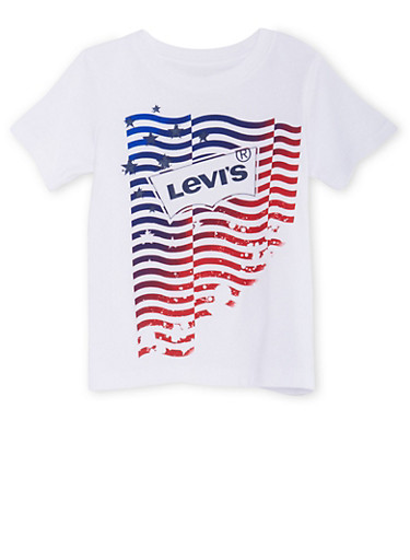 Boys 4-7 Levis Graphic T-Shirt with Logo and American Flag Print,WHITE,large