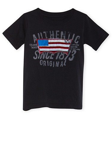 Boys 4-7 Levis Black Graphic Tee with Authentic US Flag Print,BLACK,large