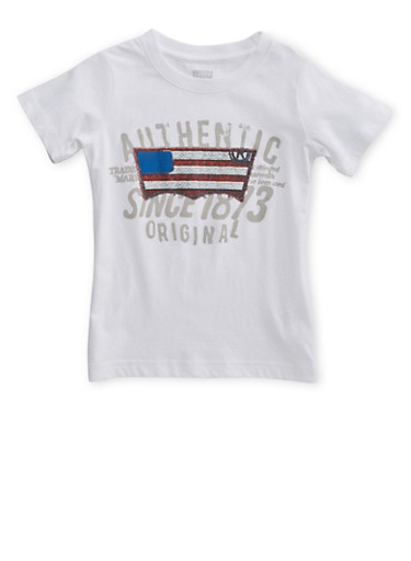 Boys 4-7 Levis T-Shirt with Patriotic Graphic at Front,WHITE,large