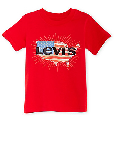 Boys 4-7 Levis T-Shirt with American Logo Graphic,RED,large