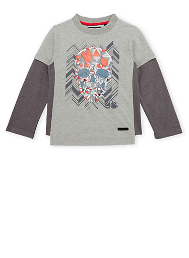 Boys 4-7 Sean John Top with Skull Graphic,CHARCOAL,large