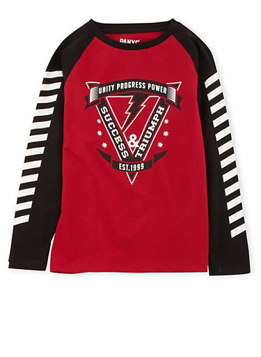 Boys 8-20 Color Block Top with Graphic,BLACK,large