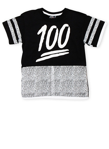Boys 8-18 Printed T-Shirt with 100 Graphic,BLACK/WHITE,large