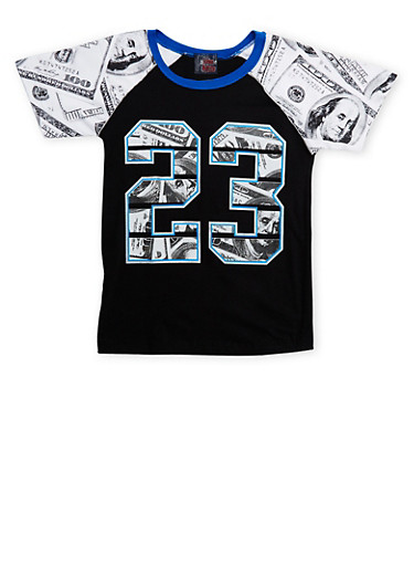 Boys 8-18 T-Shirt in Money Print with 23 Graphic,BLACK,large
