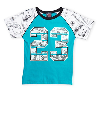 Boys 8-18 T-Shirt in Money Print with 23 Graphic,TEAL,large