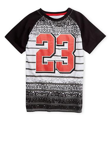Boys 8-18 Short Sleeve Gradient 23 T-Shirt,WHITE,large