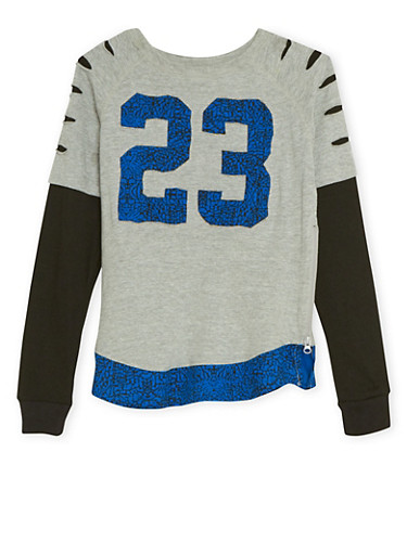 Boys 8-18 Layered Top with 23 Patch,GRAY,large