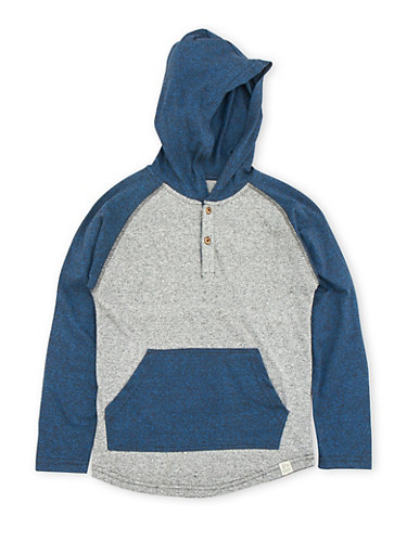 Boys 8-16 Color Block Top with Hood,COBALT/CHARCOAL,large