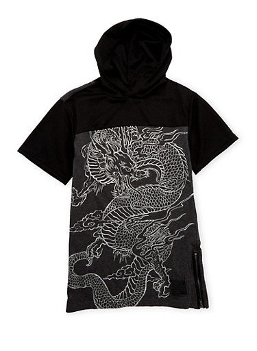 Boys 8-18 Hooded Tee with Mesh Contrast,CHARCOAL,large