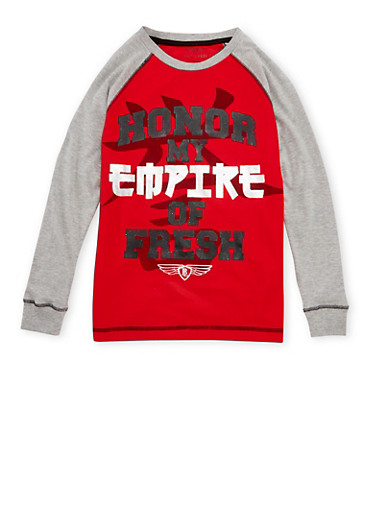 Boys 8-20 Raglan Top with Honor My Empire of Fresh Print,RED,large