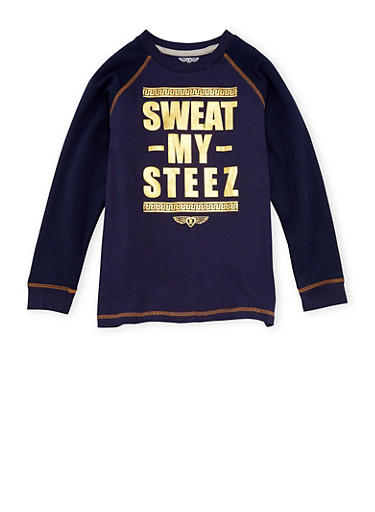 Boys 8-18 Long Sleeve Shirt with Sweat My Steez Gold Foil,NAVY,large