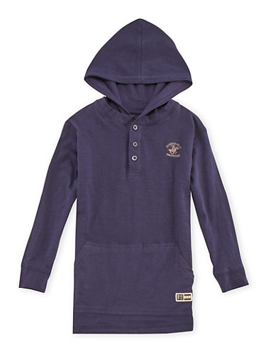 Boys 8-18 BHPC Embroidered Jersey Hoodie,NAVY,large