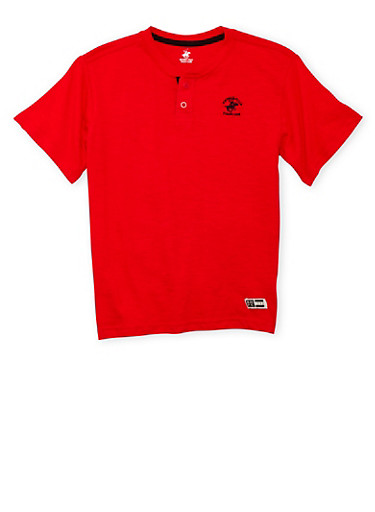 Boys 8-18 BHPC Henley with Logo,RED,large