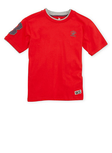 Boys 8-18 BHPC Tee with Contrast Trim,RED,large