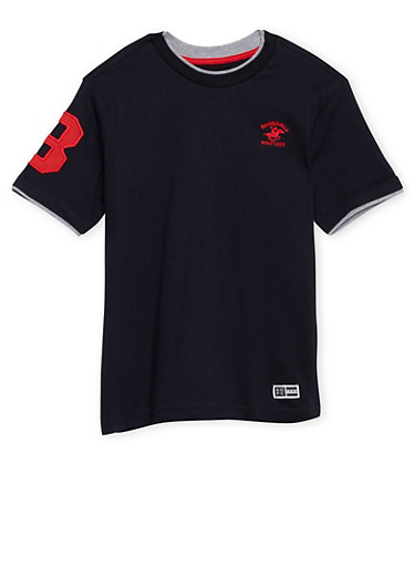 Boys 8-18 BHPC Layered Tee with Embroidered Number,BLACK,large