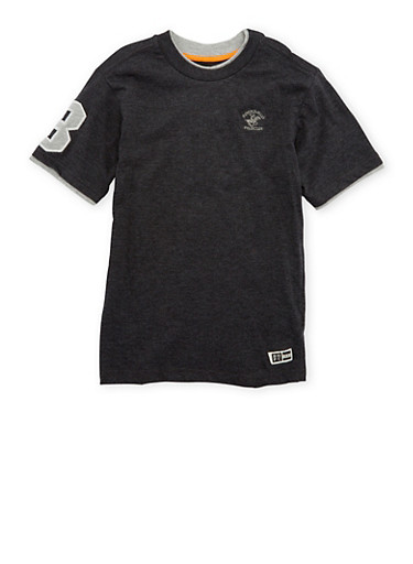 Boys 8-18 BHPC Tee with Contrast Trim,CHARCOAL,large