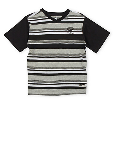 Boys 8-18 BHPC Striped Tee with Contrast Sleeves,BLACK,large