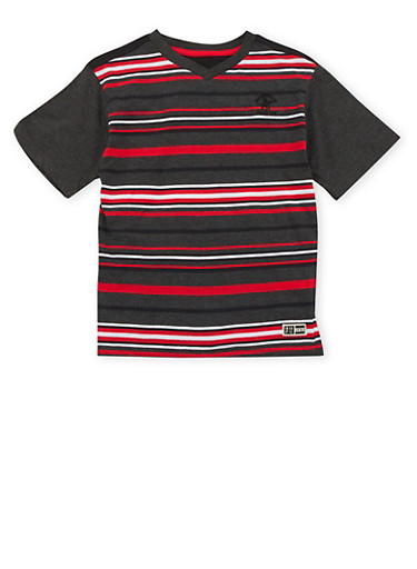 Boys 8-18 BHPC Striped Tee with Contrast Sleeves,RED,large