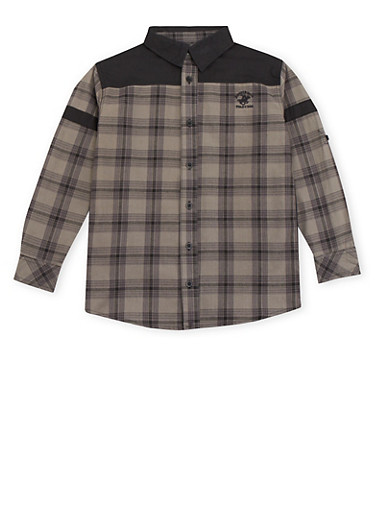 Boys 8-20 BHPC Plaid Button Up Shirt,BLACK,large