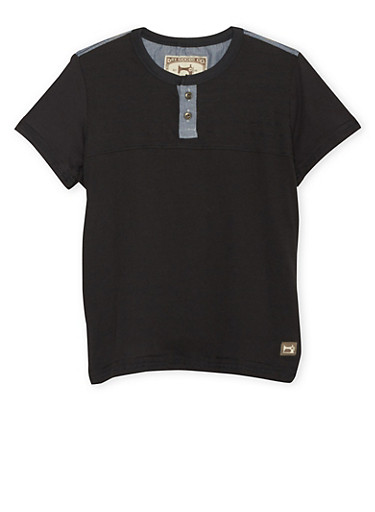 Boys 8-18 Henley Tee with Chambray Trim,BLACK,large