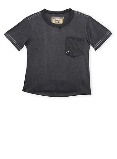 Boys 8-20 V Neck T Shirt with Quilted Accents,CHARCOAL,large