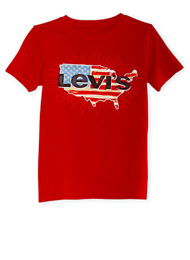 Boys 8-20 Levis Graphic T-Shirt with Logo and USA Print,RED,large