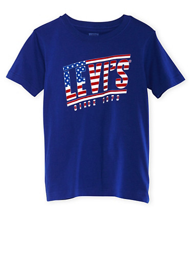 Boys 8-20 Levis Royal Blue Graphic Short Sleeve Tee with USA Logo Print,ROYAL,large