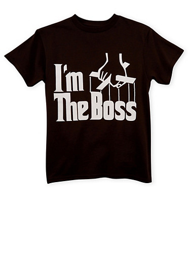 Boys 8-20 T-Shirt with Im The Boss Graphic,BLACK,large