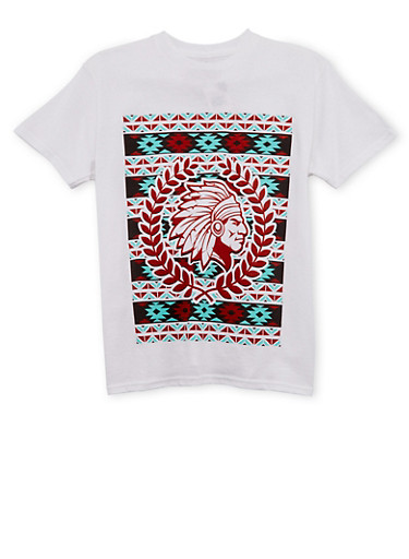Boys 8-20 T-Shirt with Ikat Design,WHITE,large