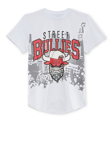 Boys 8-20 T-Shirt with Street Bullies Graphic,WHITE,large