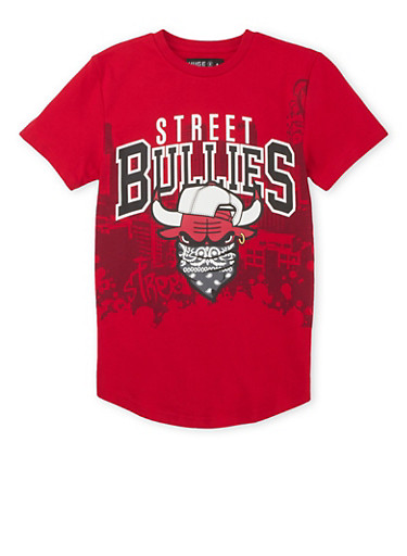 Boys 8-20 T-Shirt with Street Bullies Graphic,RED,large