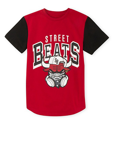 Boys 8-18 T-Shirt with Street Beats Graphic,RED,large