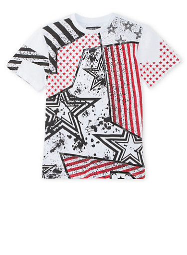 Boys 8-20 Tee in Mixed Stars and Stripes Print,WHITE,large