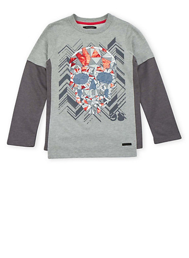 Boys 8-18 Sean John Top with Skull Graphic,CHARCOAL,large