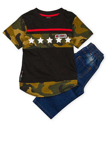 Boys 4-7 Enyce Camo Print Graphic Top with Jeans Set,CAMOUFLAGE,large