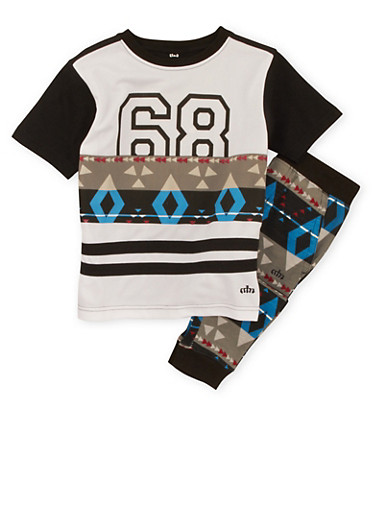 Boys 4-7 Printed Top and Joggers Set with Graphic,MULTI COLOR,large