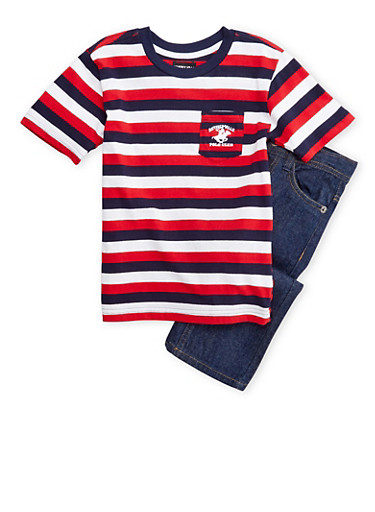 Boys 4-7 BHPC Striped T-Shirt with Jeans Set,RED,large