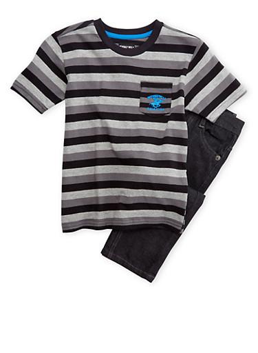 Boys 4-7 BHPC Mixed Stripe T-Shirt with Jeans Set,BLACK,large