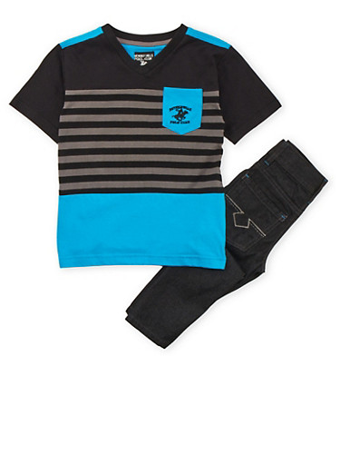 Boys 4-7 BHPC Mixed Stripe Color Block T-Shirt with Jeans Set,BLACK,large
