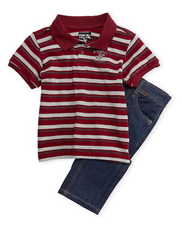 Boys 4-7 BHPC Striped Polo Tee and Jeans Set,CRANBERRY,large