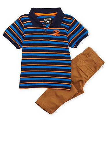 Boys 4-7 BHPC Striped Polo Tee and Khaki Pants Set,BLUE,large