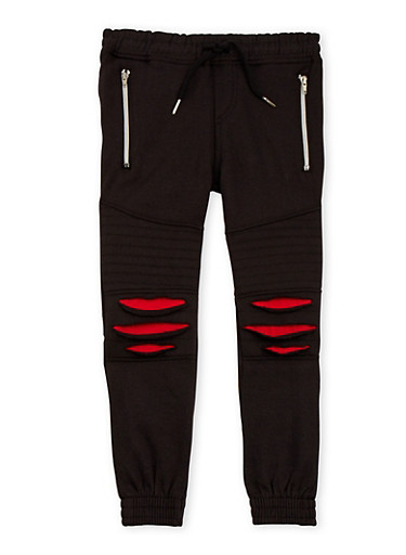 Boys 4-7 Distressed Moto Joggers,BLACK,large