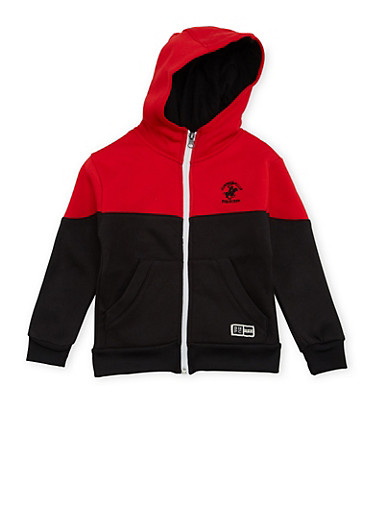 Boys 4-7 BHPC Paneled Hoodie with Graphic,RED,large